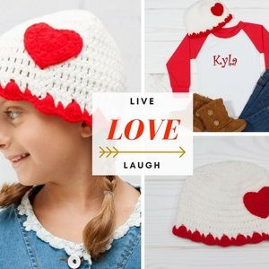 Other - Beautiful Boutique Crochet Heart Hat